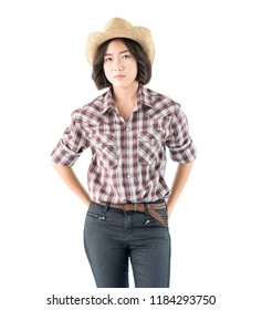Young pretty woman in a cowboy hat and plaid shirt with isolated on white background
