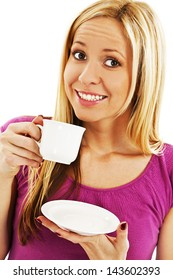 Young pretty woman drinking coffee. Isolated on white background.