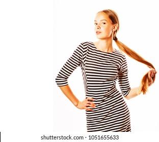 Brunette sundress strip
