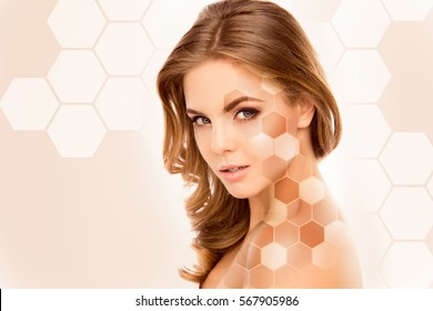 Young pretty woman face with different tones of skin.