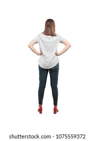 young pretty woman facing to a challenge with proud pose.full body cutout person against white background