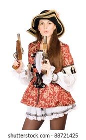 Young pretty woman with guns dressed as pirates
