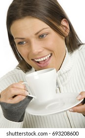 young pretty woman having a cup of tea