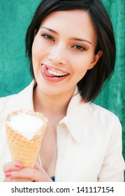 Young pretty woman with ice cream