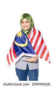 young and pretty woman with malaysian flag isolated on white background