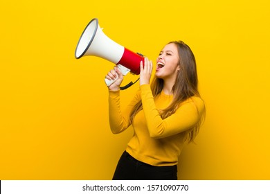 young pretty woman with a megaphone