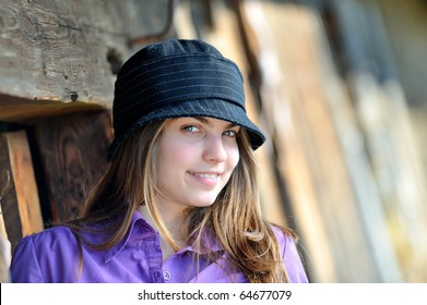 young pretty woman portrait outdoor