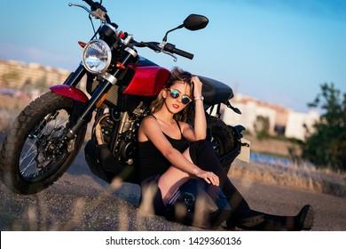 Naked girl motorbike
