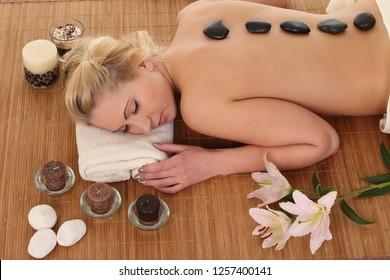 Young pretty woman in a spa salon