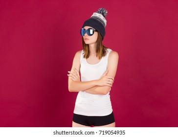 Young pretty woman, sunglasses