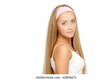 Young pretty woman, white background