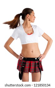 Young pretty woman in white top and red mini skirt