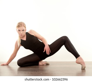 young pretty women doing stretching fitness exercise
