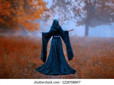 young priestess holds a secret rite of sacrifice is alone in the autumn forest on a large glade. the escaped queen wore a blue velvet cloak dress with hood, wide sleeves. magnificent amazing art photo