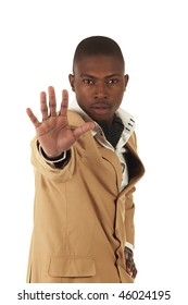 Young professional black african adult businessman in a camel brown suit on a white background. Not Isolated, focus on face