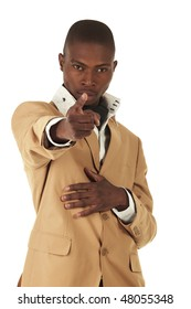 Young professional black african adult businessman in a camel brown suit on a white background. Not Isolated