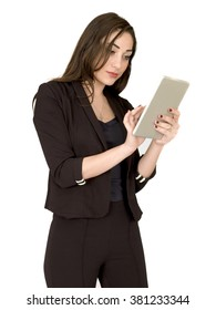 Young Professional Business Woman Using a Wireless Tablet To Communicate