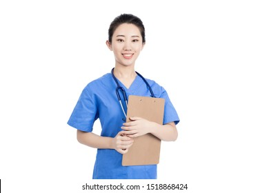 Young professional doctor smiling and holding clipboard to write notes