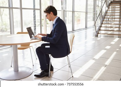 Young professional man using laptop, full length