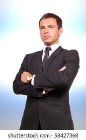 Young professional on abstract background