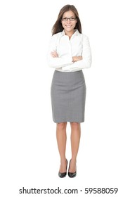 Young professional woman. Asian Chinese / white Caucasian businesswoman isolated on white background in full body.