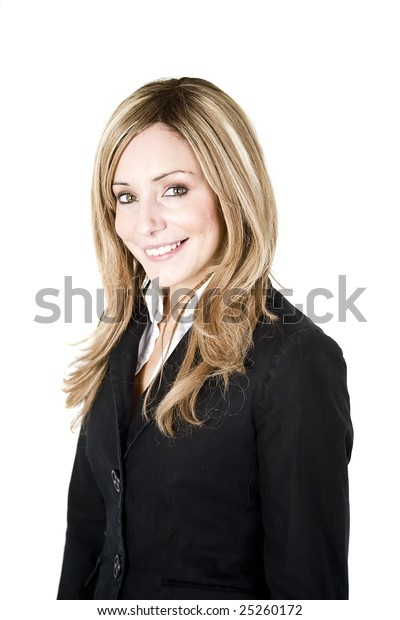 Young professional woman portrait isolated on white background