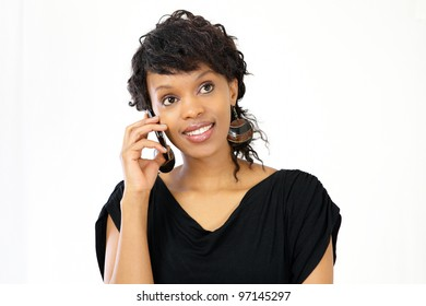Young professional woman talking on smart phone