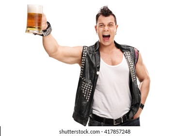Young punk rocker holding a pint of beer and shouting isolated on white background