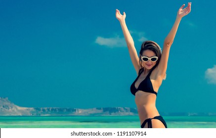 Young redhead girl in black bikini on Balos beach, west Crete, Greece. Summertime season vacation, July