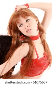 Young redhead woman with black wings isolated on white