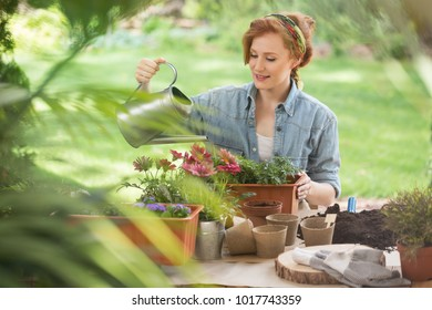 Young redhead woman in green headscarf and jean shirt watering plants in her garden.