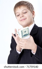 Young rich businessman collecting money