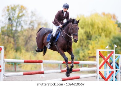 Young rider girl on bay horse jumping over barrier on equestrian sport competition. Horseback girl on show jumping contest