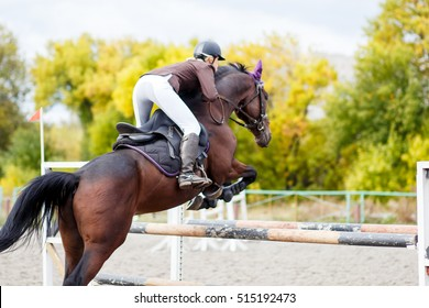 Young rider girl on horse jumping over obstacle on her course in competition