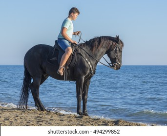 young rider and his horse on the beach
