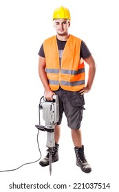 a young road worker wearing a hardhat and a visibility vest holding a jackhammer isolated over white background