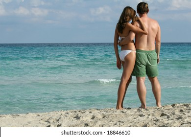 young romantic couple on the tropical beach