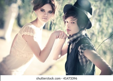 Young romantic couple portrait. Soft colors.