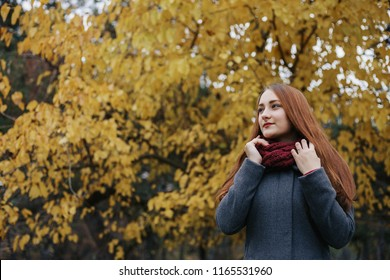 Young romantic female person wearing warm grey overcoat and red scarf. Model standing in autumn park on the tree with yellow leaves background. Pretty girl looking forward and smiling. Autumn season