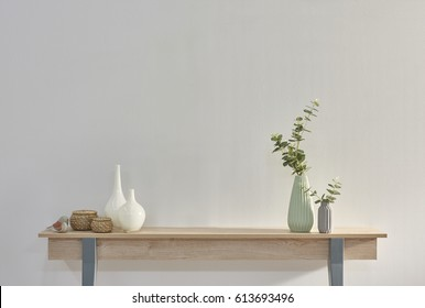 young room interior desk with mock up and lamp white floor