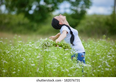 young rural girl in the field