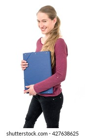 young school girl with  folder; on white background continuous