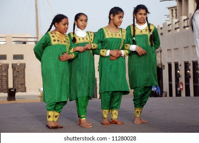 Young school girls at annual festival in middle east