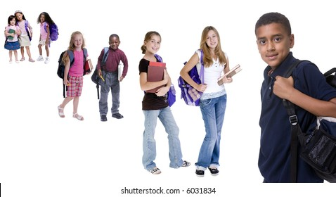 Young school kids ready for school. Diversity, education, learning.