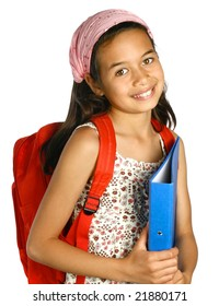 Young schoolgirl of mix ethnicity holding a blue folder and files with pens and markers, isolated.