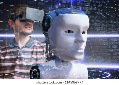 Young scientist is controlling robotic head. Artificial intelligence concept. 3D rendered illustration of a robot.