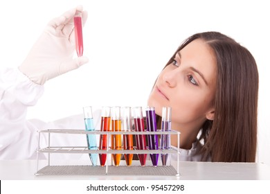 Young scientist at lab, isolated over white