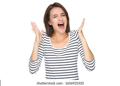 Young screaming woman isolated on white background