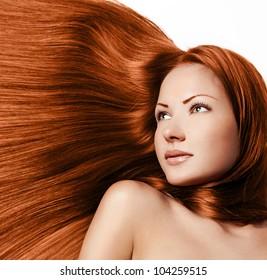 young sensual beautiful girl with long hair