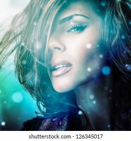 Young sensual romantic beauty woman. Multicolored pop art style photo.